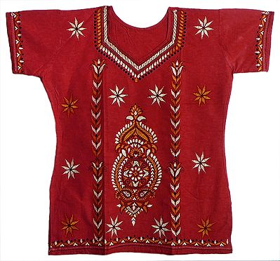 Red Kantha Stitch Kurta