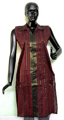 Maroon Middle Length Cotton Kurta with Black and Golden Vertical Stripe
