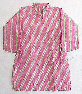 Pink, White, Green Angular Stripe Kurta