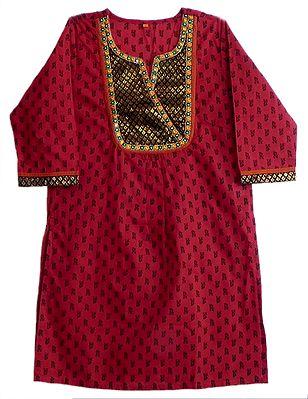 Red Printed Kurta with Weaved Zari Design on Black Cloth