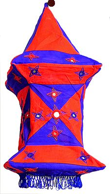 Appliqued and Mirrorwork Foldable Square Hanging Lamp Shade