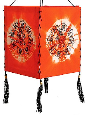 Hanging Tie and Dye Foldable Lamp Shade with Hand Painted Ganesha