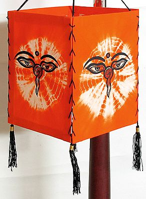Hanging Tie and Dye Foldable Lamp Shade with Hand Painted Shiva