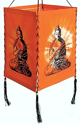 Hanging Tie and Dye Foldable Saffron Lamp Shade with Hand Painted Buddha