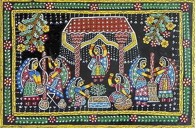 Indian Village Scene - Wall Hanging
