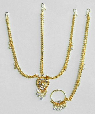 Gold Plated Decorative Mang Tika with Nose Ring