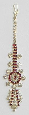 White and Maroon Stone Studded and Gold Plated Mang Tika