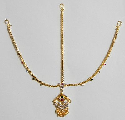 Stone Studded and Gold Plated Decorative Mang Tika