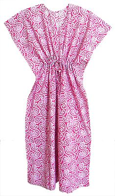Pink with White Printed Cotton Kaftan