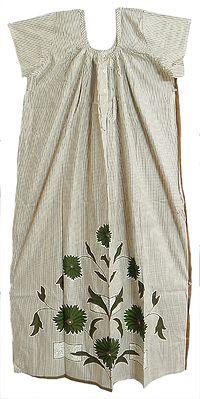 Brown Stripe on White Cotton Maxi Night Gown