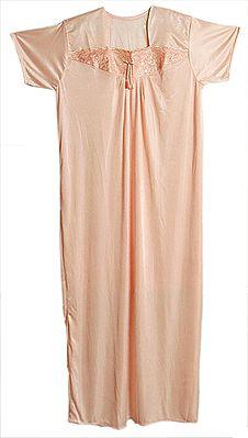 Satin Silk Light Peach Night Gown