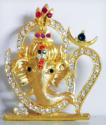 Stone Studded on Gold Plated Ganesha in Om