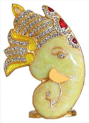 Stone Studded on Gold Plated King Ganesha