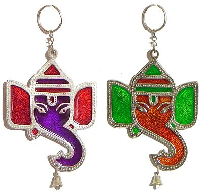 A Pair of Colorful Ganesha Wall Hanging