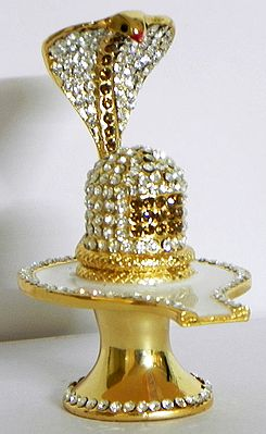 Stone Studded on Gold Plated Shiva Linga