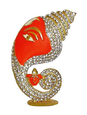 Stone Studded on Gold Plated Conch Shaped Ganesha