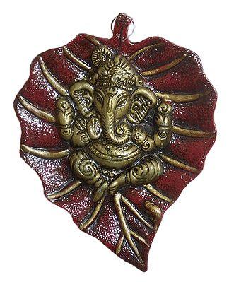 Ganesha on Maroon Leaf - Wall Hanging
