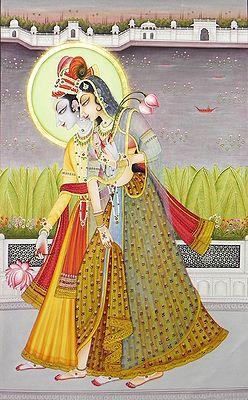 Krishna Collecting Lotus for Radha