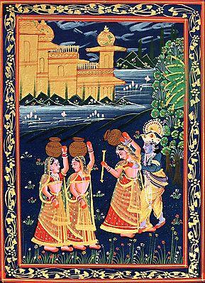 Krishna Playing Truant with Radha and Gopinis