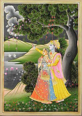 Radha Krishna Gazing at the Cloud