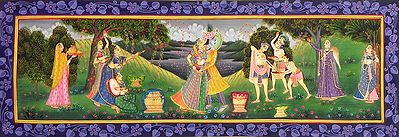 Gopis and Gopinis Playing Holi with Radha and Krishna