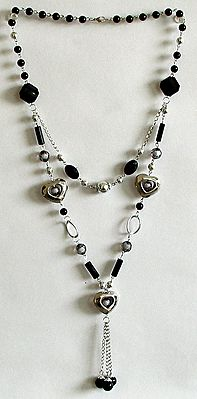 Grey and Black Bead Necklace with Hearts