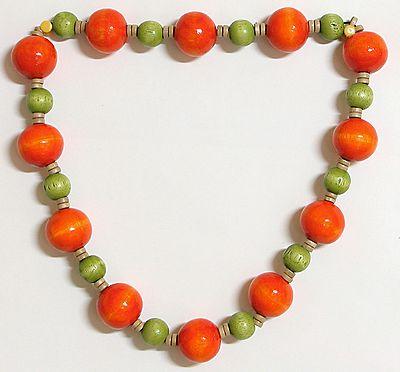 Ball of Fire - Dark Saffron and Light Green Wooden Bead Necklace