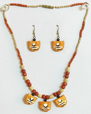 Hand Painted Saffron Paper Pendant and Earrings with Wooden Beads