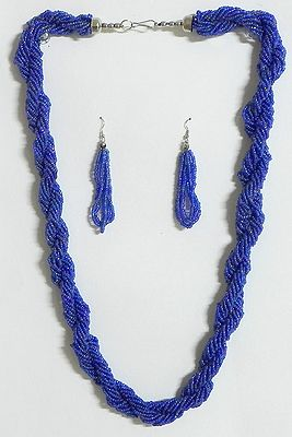 Purple Bead Necklace and Earrings
