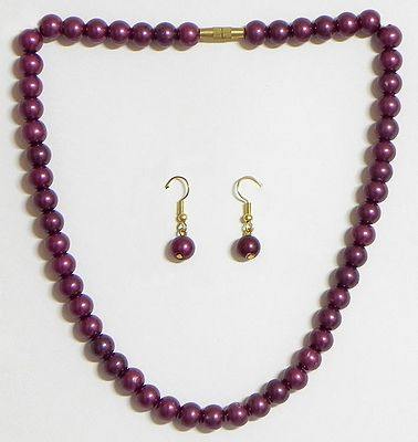 Purple Bead Necklace with Earrings