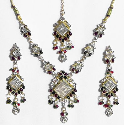 Stone Studded and Beaded Necklace with Earrings and Mang Tika