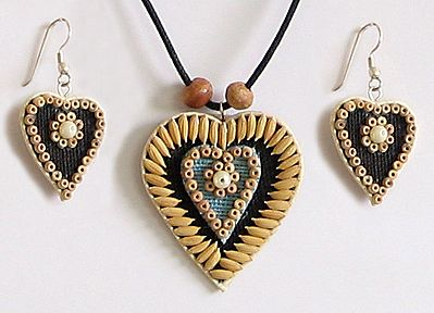Black Corded Heart Pendant and Earrings Decorated with Off White Wooden Beads and Paddy Rice