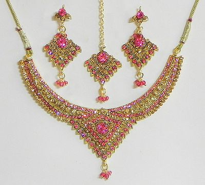 Dark Pink and Amber Yellow Stone Studded Necklace with Earrings and Maang Tikka