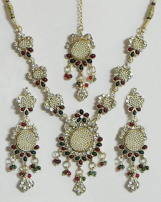 White, Maroon and Green Stone Studded Necklace with  Earrings and Mang Tika