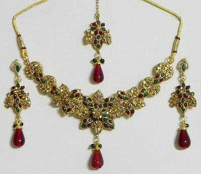 Maroon, Green and Amber Yellow Stone Studded Necklace with  Earrings and Mang Tika