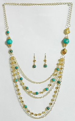 Five Layer Golden Chain with Turquoise Blue Bead Necklace and Earrings