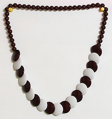Dark Brown and White Bead Necklace