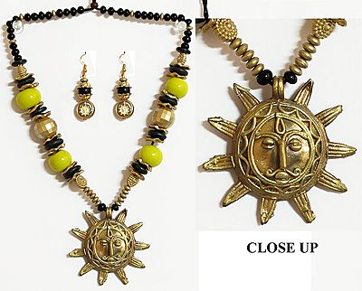 Dhokra Necklace with Sun Brass Pendant and Earrings