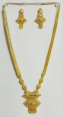 Gold Plated Bridal Necklace with Earrings
