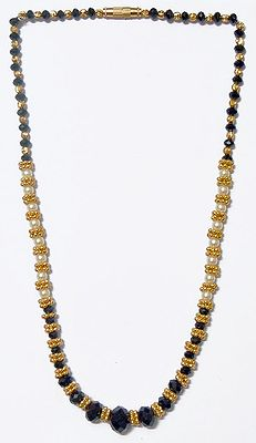Black Crystal With Gold Plated And Faux Pearl Bead Necklace