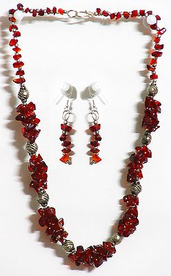 Maroon Stone Necklace and Earrings