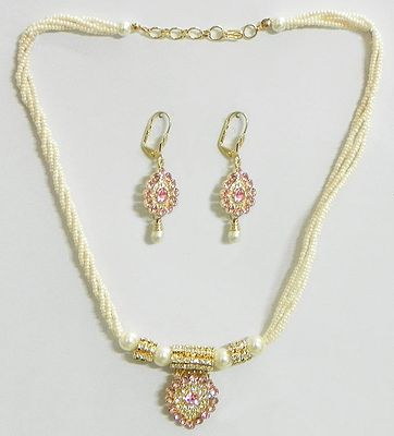 White Bead Necklace With Light Pink Stone Studded Pendant