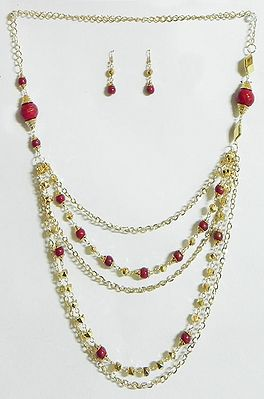 Five Layer Golden Chain with Red Bead Necklace and Earrings