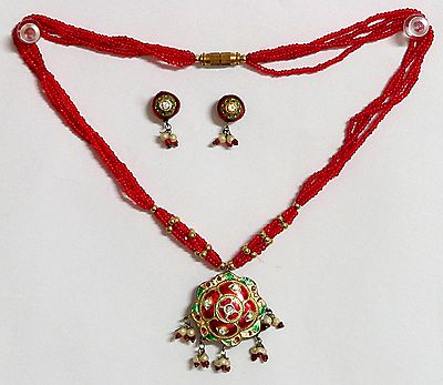 Red Beaded Minakari Necklace with Earrings