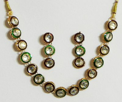 White Stone Studded Minakari Necklace with  Earrings