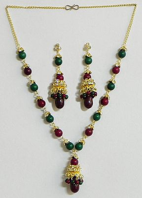 Green and Maroon Bead Necklace with Earrings