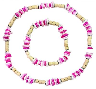 Wooden and Acrylic Beaded Stretch Necklace and Bracelet
