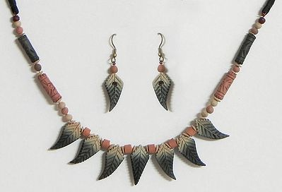 Beige with Black Terracotta Necklace and Earring Set