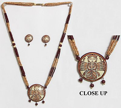 Wooden Bead Necklace with Hand Painted Durga on Terracotta Pendant and Earrings