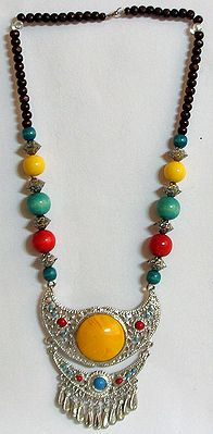 Multicolor Stone Bead Necklace and Two Layer Metal Pendant with Yellow Stone
